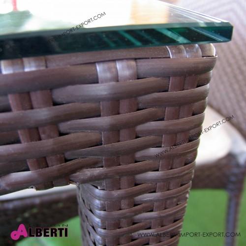 Tavolo 150 x 150 color mogano con ripiano in vetro