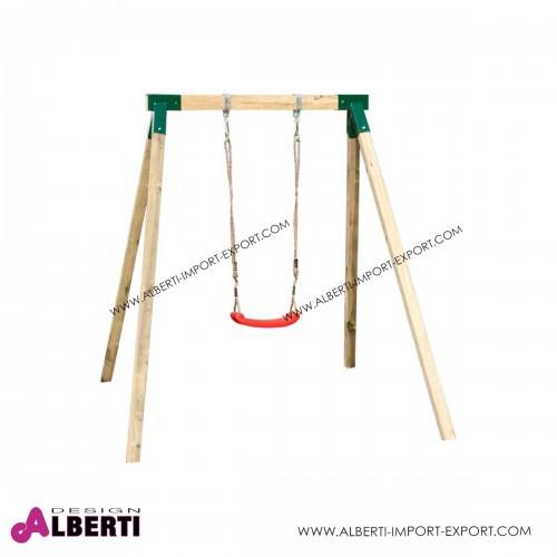 Altalena singola per bambini in legno con pali quadrati 160x230x195 cm