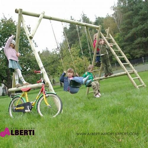 Altalena per bambini Apart Plus in legno con 2 seggiolini senza scivolo L350xB225xH225