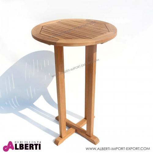 Tavolino da bar Sunny in teak, diametro 80Xh110 cm