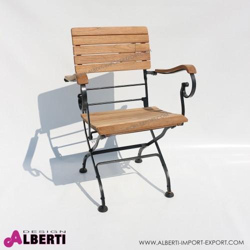 Poltrona pieghevole LONGLIFE ferro/teak 57x59xh85