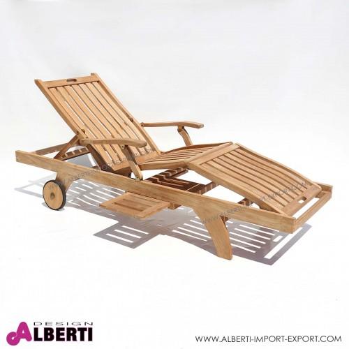 Lettino in teak modello Brighton, 200x65xh40 cm