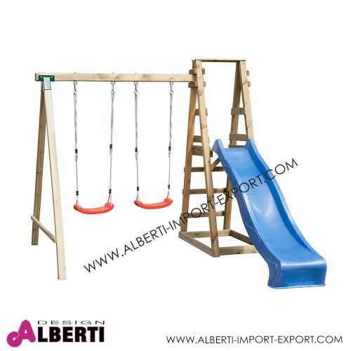 Altalena in legno doppia con scivolo 245x300xH235 cm