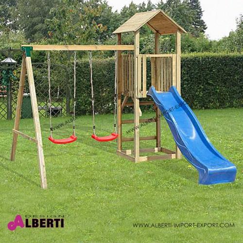 Composizione per bambini Wieza Mini, con torretta, altalena e scivolo 280x280x280cm