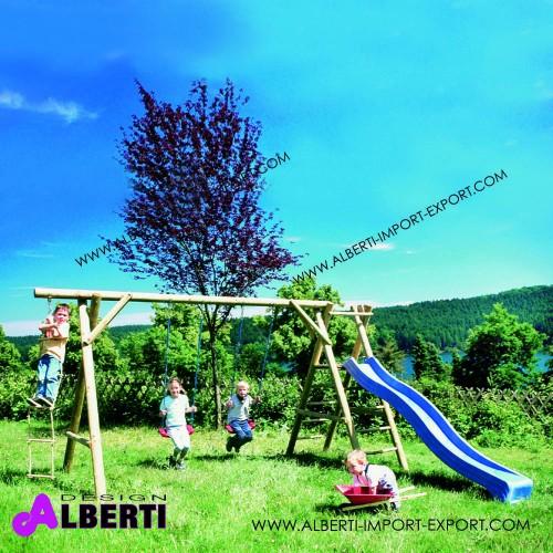 Composizione ANTON per bambini con corda e scala, senza scivolo 450x195x230 cm