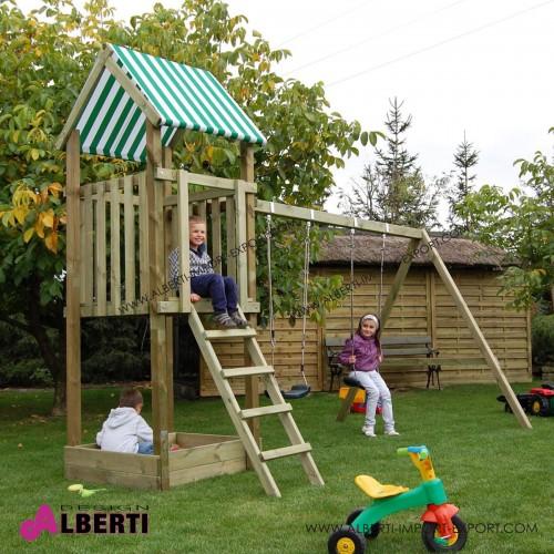 Composizione ZUZIA per bambini, pali quadrati 337xL205xH293