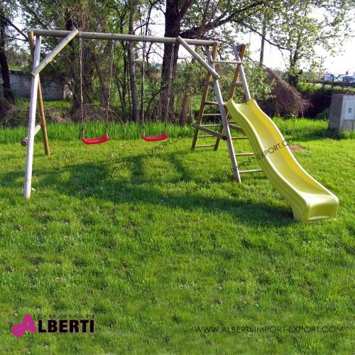 Altalena Apart Plus piccola per bambini in legno con 2 seggiolini con scivolo corto L300xB203/344xH227