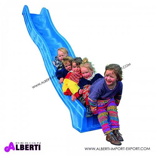 Scivolo ondulato blu in plastica per bambini 305x45 cm