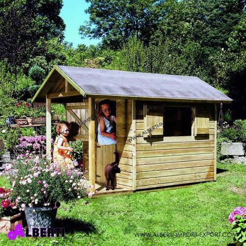 Casetta per bambini ANDY, 240x120xH160 cm, in legno spessore 14 mm