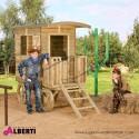 Casetta per bambini Carovana in legnoL90xP156/226xH188