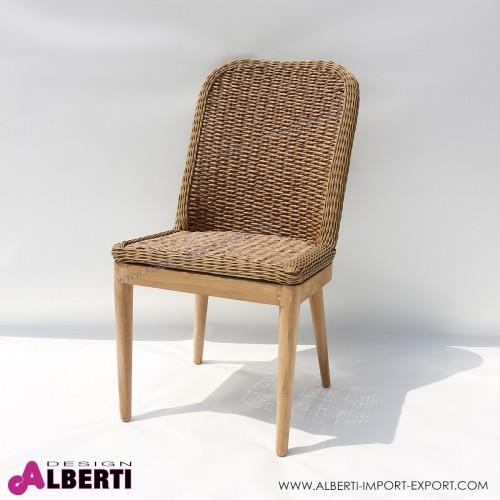 Sedia TOMMY struttura teak, seduta in giacinto sintetico