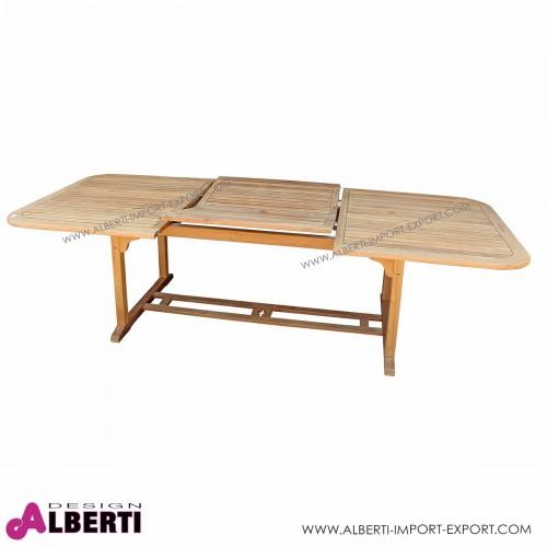 Tavolo Boston rettangolare allungabile in teak birmano, 180/260x110x74 cm