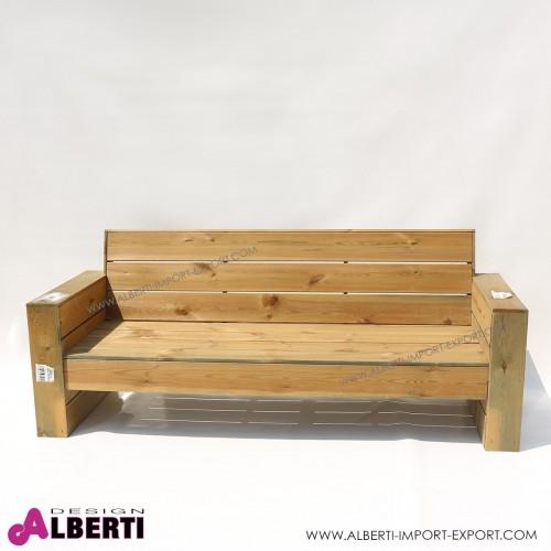 Divano in legno per esterno Mantova, in pino impregnato, 198x75xh42/82 cm