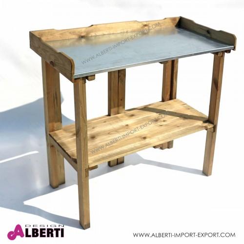Tavolo da lavoro in pino impregnato, 88,5x40xh88/82cm