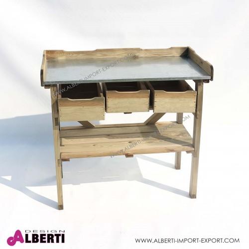 Tavolo da lavoro con cassetti, in pino impregnato, 88,5x40xh88/82cm