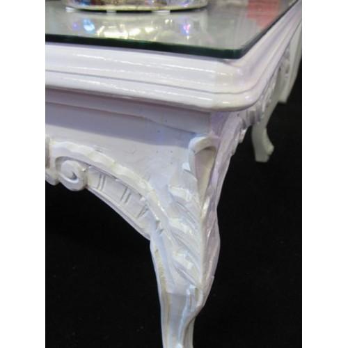 Tavolino Barcelona bianco con vetro