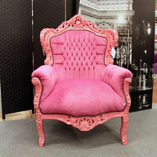 Poltrona Marsiglia Barocco rosa con tessuto rosa