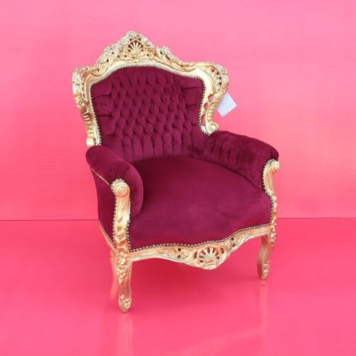 Poltrona barocco Marsiglia oro con tessuto bordò