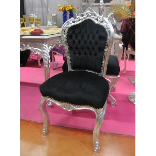Sedia barocco Parigi argento con tessuto nero
