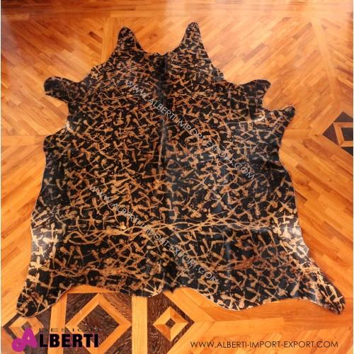 Pelle bovino colorata marrone/nera effetto artistico, 3-4 mq