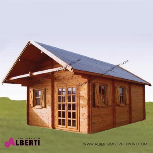 Casetta Sylt spessore 50mm legno non trattato ad incastro, vetri isolati, 450x600 cm