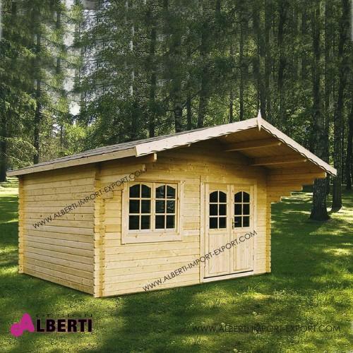 Casetta Linda spessore 44mm legno non trattato ad incastro, vetri isolati,  470x380 cm