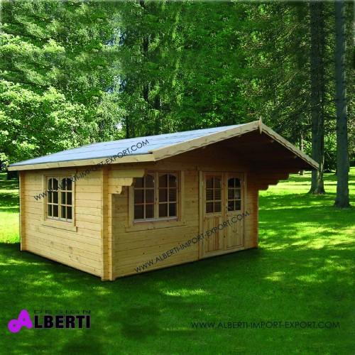 Casetta Helena spessore 70 mm legno non trattato ad incastro, vetri isolati 70mm, 470x380 cm