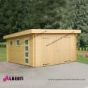 Garage Novel spessore 44mm legno non trattato ad incastro, 380x570x243 tetto piano in perline