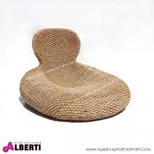 Poltrona/chaise longue in giacinto d'acqua fibra naturale 132x104