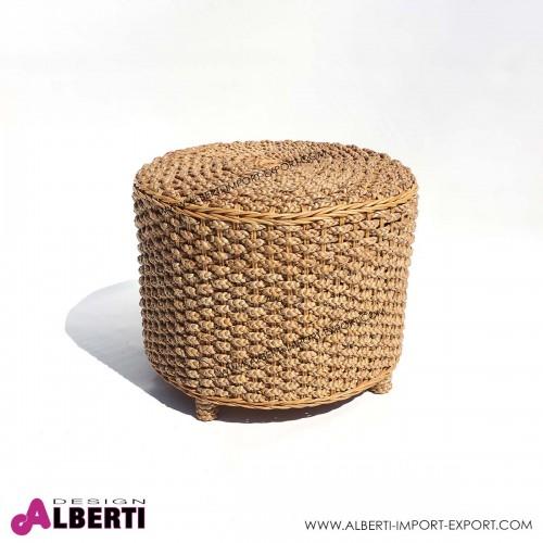 Tavolino Pouf fibra naturale Ø 50xH40 giacinto d'acqua
