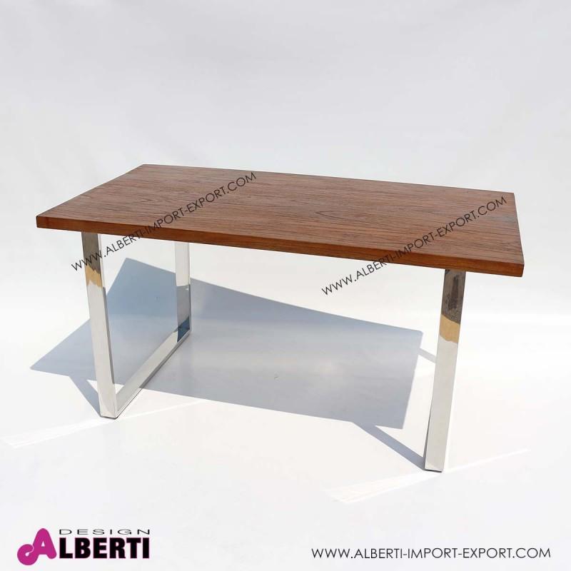 Tavolo inox e top legno e vetro 150x80x75