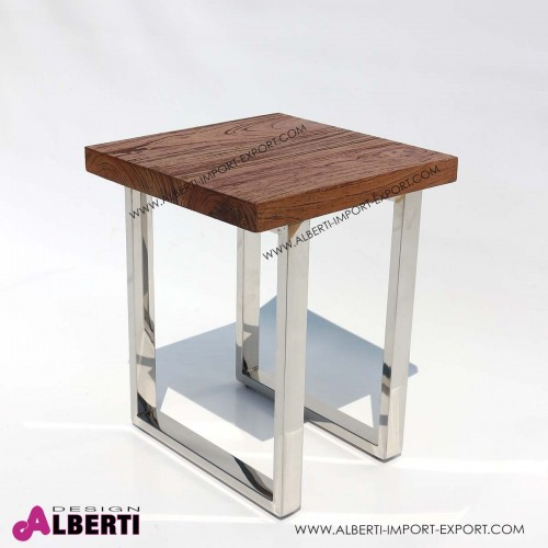 Tavolo caffè inox e top legno di teak con venatura in rilievo 40x40x50