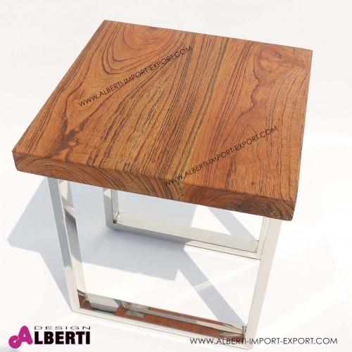 962 MA1002_b Tavolo caff? inox e top legno e  vetro 40x40x50