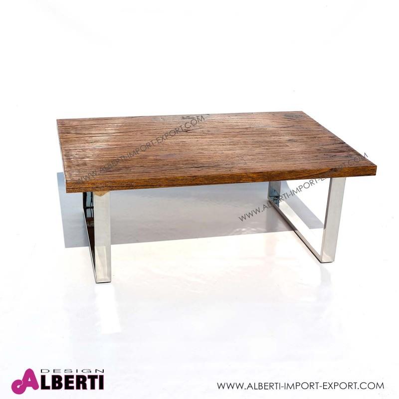 Tavolino salotto caffè inox e top legno 120x80x45