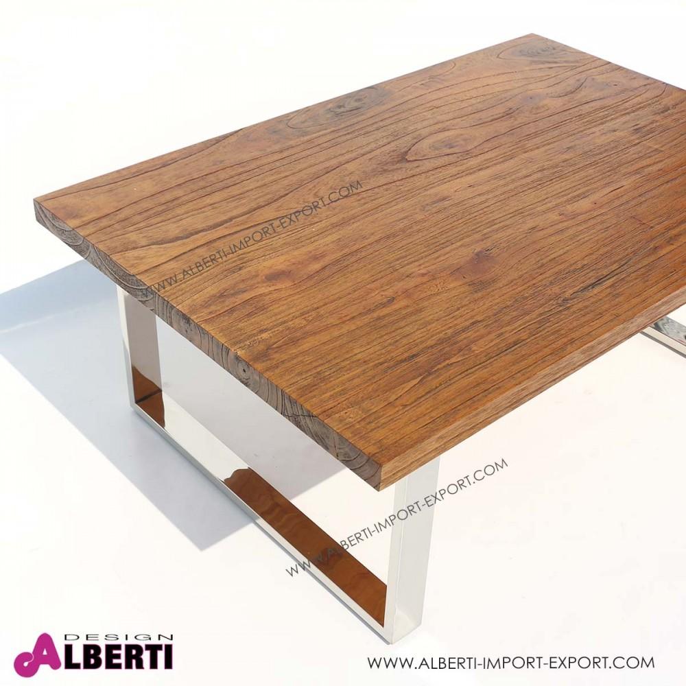 Top marrone e tavolo legno tavolo alto in legno marrone e for Tavolo acciaio design