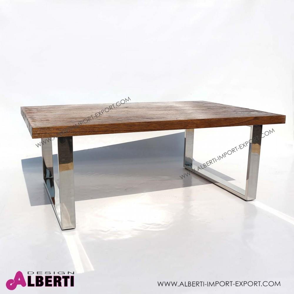 Tavolino salotto caff inox e top legno 120x80x45 for Tavolo legno acciaio