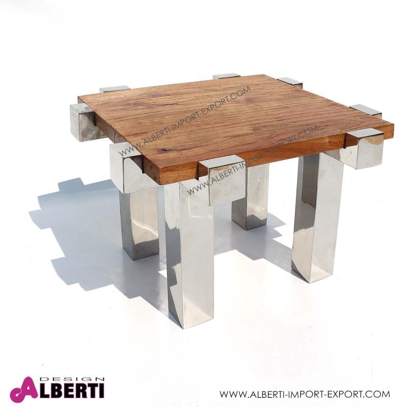 Tavolo caffè inox e top legno 56/64x60/68xh49