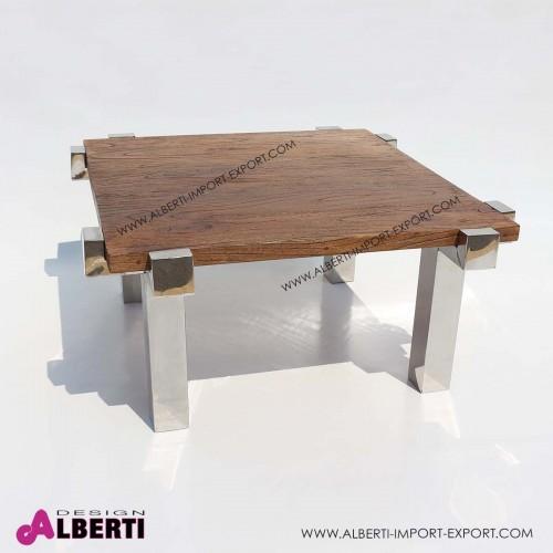 Tavolo caffè inox e top legno di teak 90x90x50