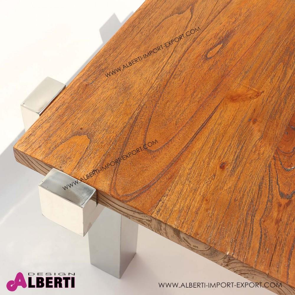 Tavolo basso da salotto inox e top legno 90x90x50