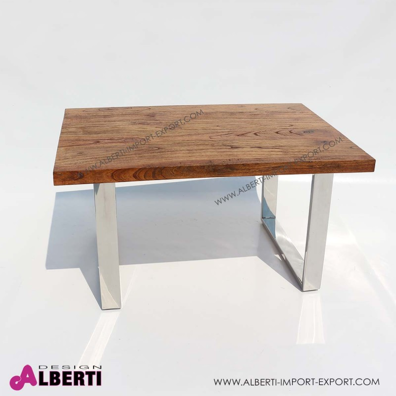 Tavolo caff? inox e top legno e vetro 90x60x50