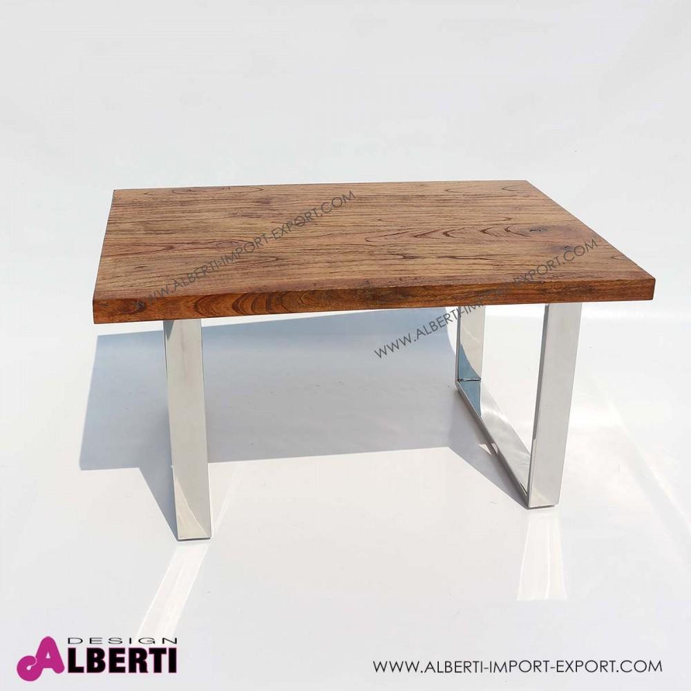 Tavolo caff inox e top legno e vetro 90x60x50 for Tavolo da pranzo legno e acciaio