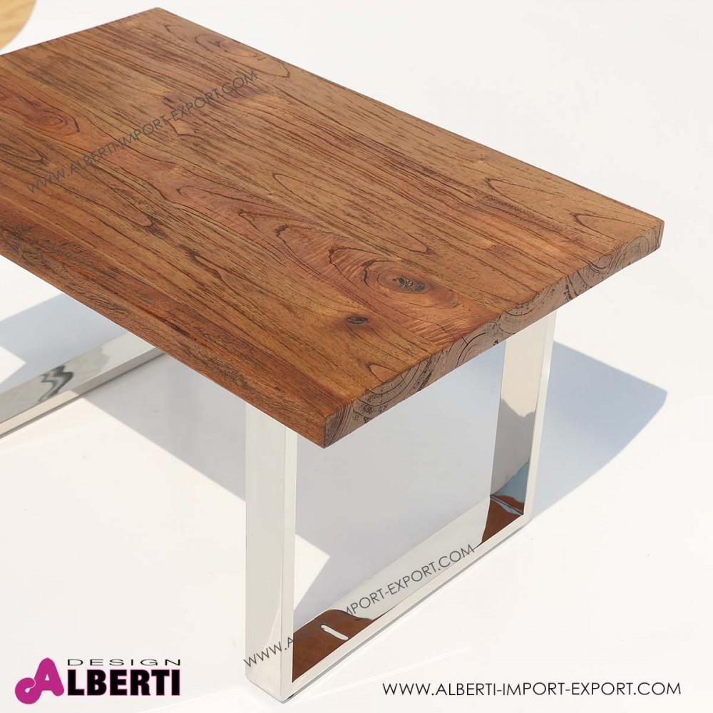 Tavolo caff inox e top legno e vetro 90x60x50 for Mobili 90 x 60