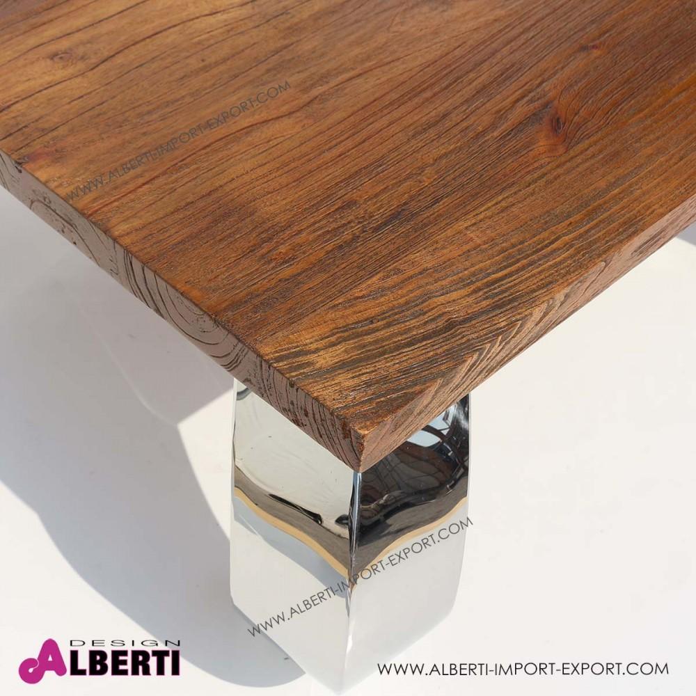 Tavolo basso da salotto OPIUM inox e top legno di teak 90x90x40