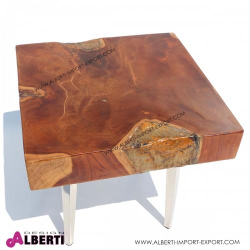 Tavolino basso in legno massiccio e vetro fuso con gambe in acciaio inox 45x45xh42