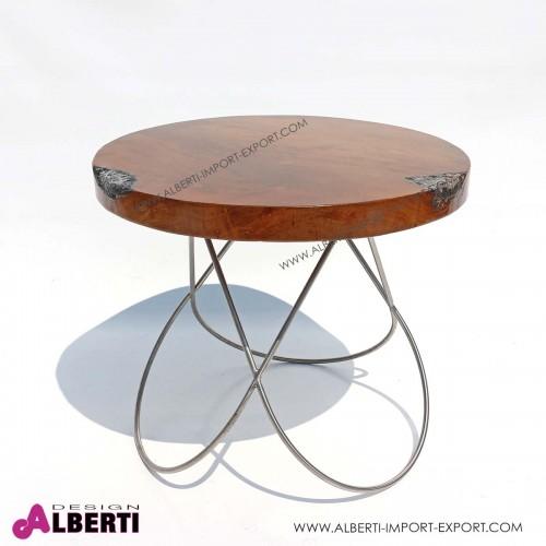 Tavolo top legno con vetro/fibra e gambe arco in acciaio inox  d 60xh52