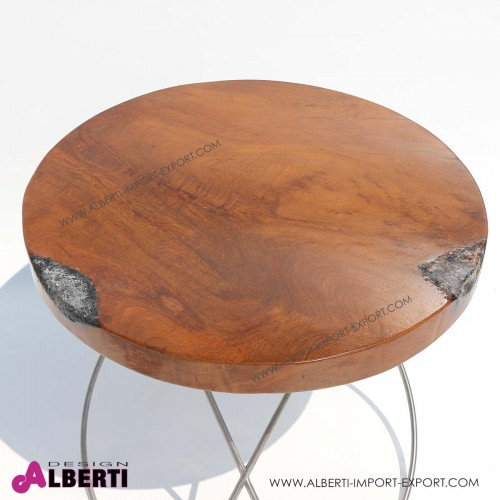 962 MA1011_b Tavolo top legno con vetro       d60xh52