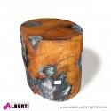 Sgabello blocco di legno e vetro/fibra fuso D.35xh40