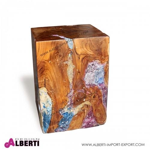 Sgabello blocco di legno e vetro/fibra fuso rettangolare 30x30xh40