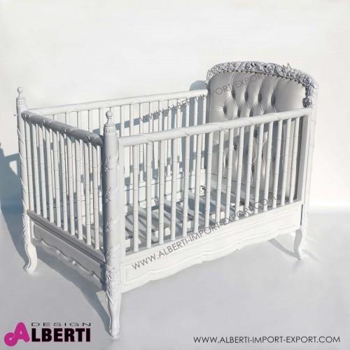 Letto barocco baby bianco con sponde ed ecopelle bianca con bottoni simil swarosky 96x153cm
