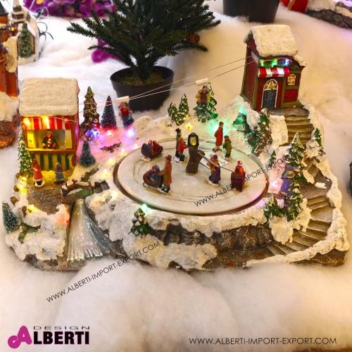 Villaggio Natale animato con piazza 48,5x33x28